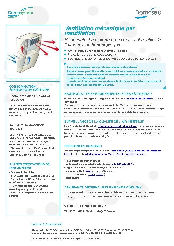 Domosystem toute la documentation et les fichiers pdf de la soci t domosystem documentation - Ventilation mecanique par insufflation ...